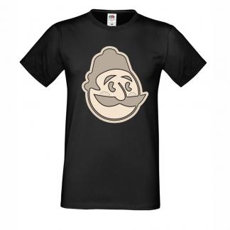 тениска art haha.bg черна с бежово лого