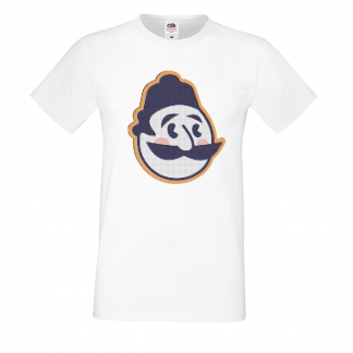 тениска art haha.bg бяла лого с пиксели